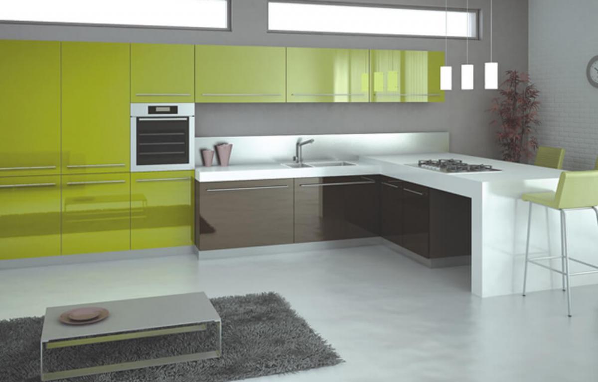Modern tasar ml k rm z renkli mutfak dekorasyonu modeli - Ye Il Mutfak Dolaplar Modelleri
