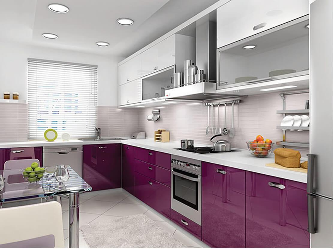 Modern tasar ml k rm z renkli mutfak dekorasyonu modeli - Elegant Modern Tasarmlar Ile Birlikte Gen Kzlarn Gzdesi Mor Mutfak Dolab Dikkat Ekiyor Koyu Mor Renkleri Ile Dikkat Eken Ve Tercih Edilen Modelleri Ile With